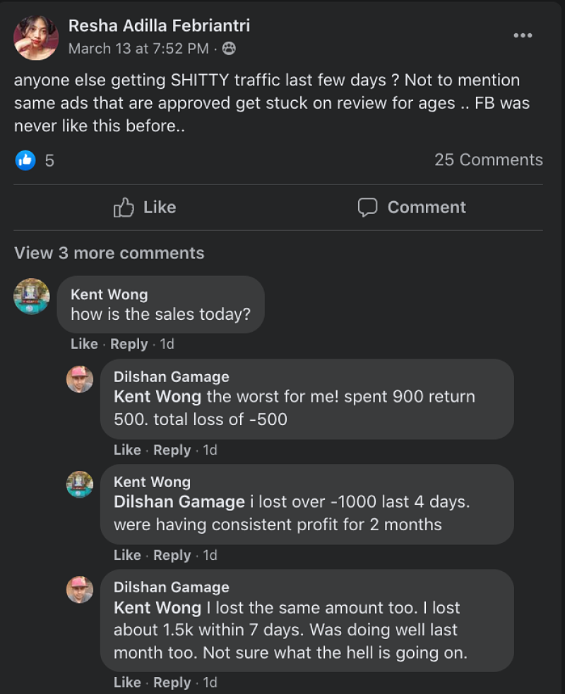post about facebook ads ROAS being really bad after IOS 14 impact