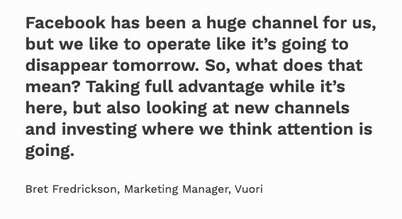 remark about not relying on Facebook ads in the long term by Vuori