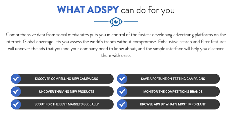 sales pitch for adspy platform