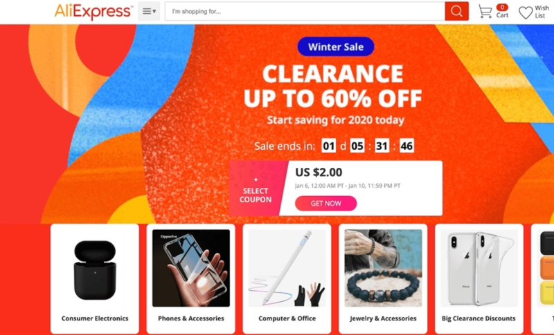 aliexpress 60% off clearance page
