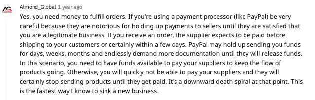 reddit post about the problems paying suppliers