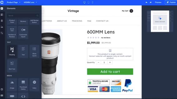 camera lens examples for commercehq store formula