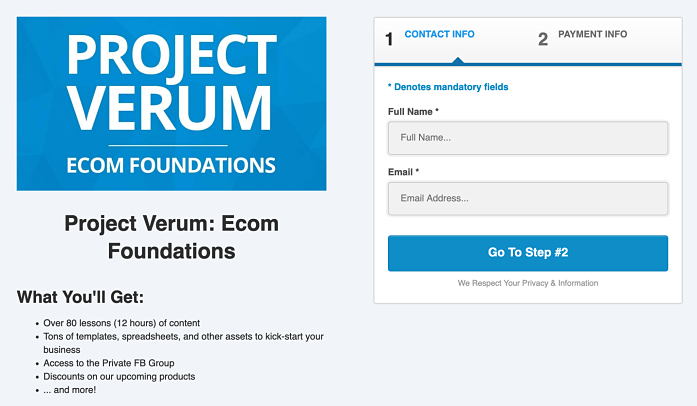 ecom foundations sign up page