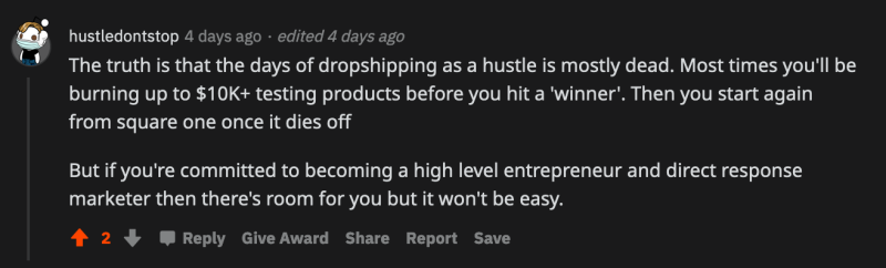 dropshipping being outdated reddit comment