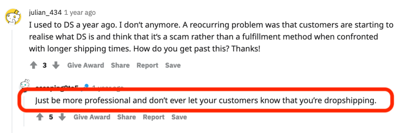 reddit about pretending not to be a dropshipping store to fool customers