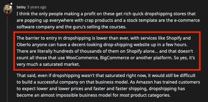 comment on reddit about dropshipping being too saturated
