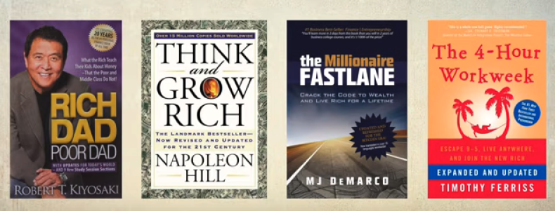 Millionaire fastlane, rich dad poor dad, think & grow rich, and 4 hour work week book covers
