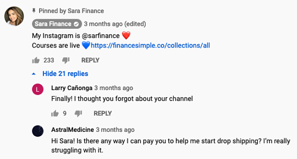 The January 2021 youtube video where sara finance introduces her dropshipping courses