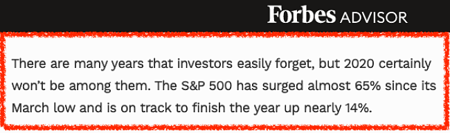 forbes article stating that the S&P has surged 65% so far