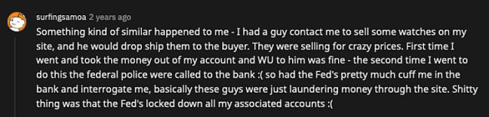 reddit comment about FBI & fraud supplier