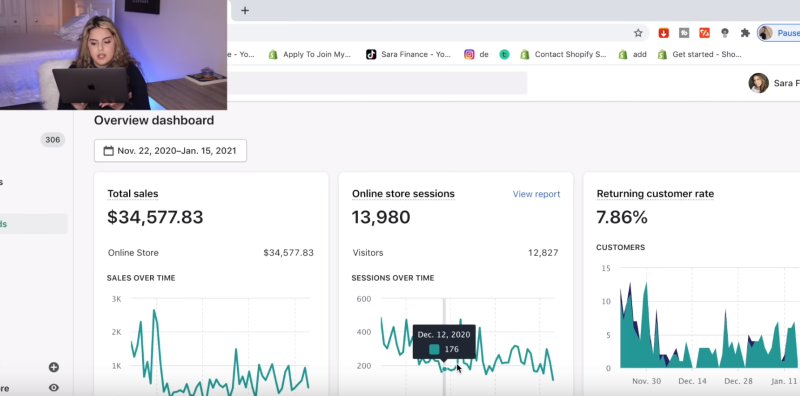 shopify store metrics session with sara finance