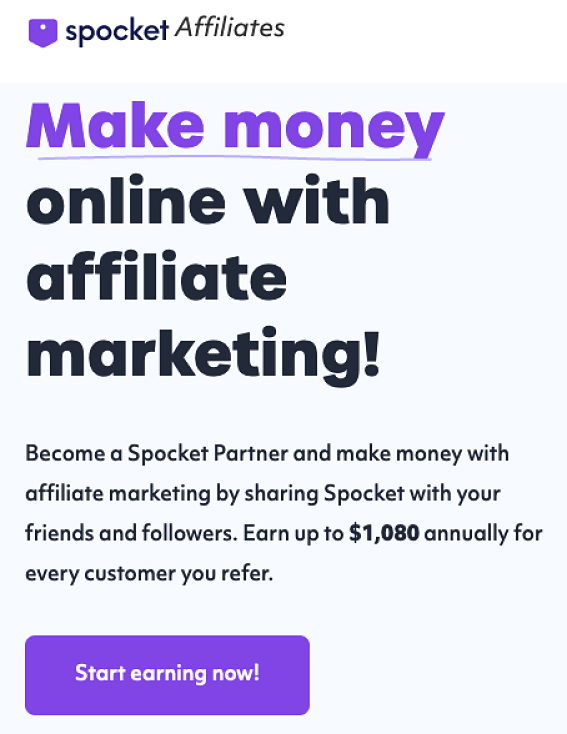 sales pitch from Spocket about earning up to $1080 per referral per year as promoted by sara finance dropshipping business course
