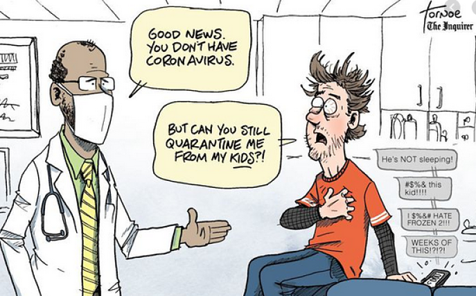 cartoon with a patient begging his doctor to quarantine him from his kids so he can rest