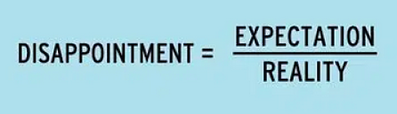 equation for disappointment = expectations divided by reality