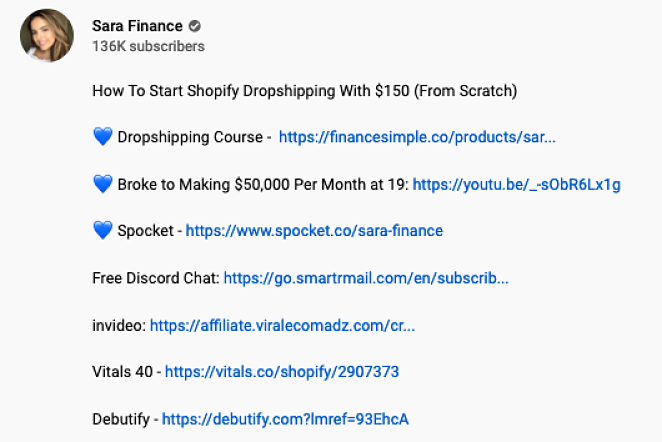 list of 7 affiliate referral links from 1 youtube video belonging to sara finance