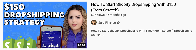 free dropshipping course from sara finance on youtube