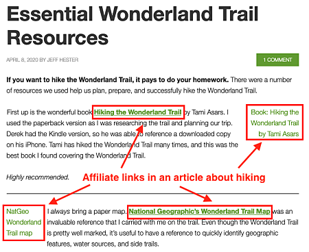 a hiking article showing examples of using affiliate links