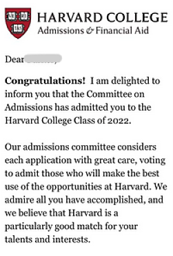 acceptance notification from Harvard