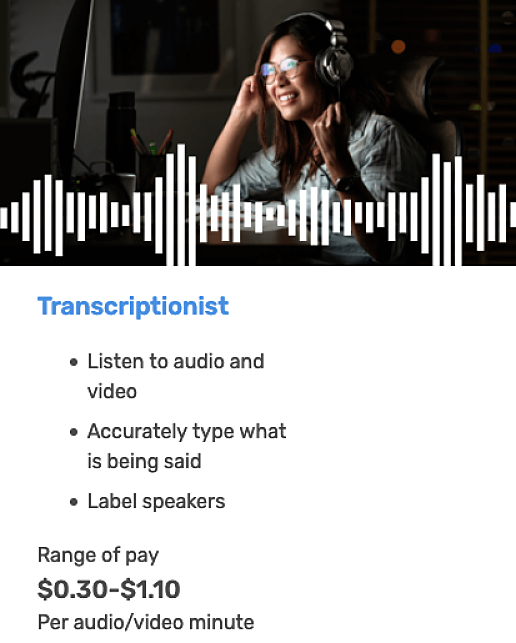 image of a women smiling while transcribing audio plus pay info for rev.com