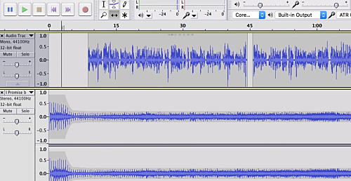 sound bars on the audacity software for sound editing