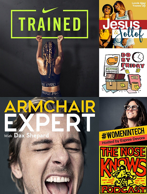 assortment of podcast thumbnails including nike & dax shepard