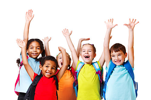 group of after school program kids with their hands in the air