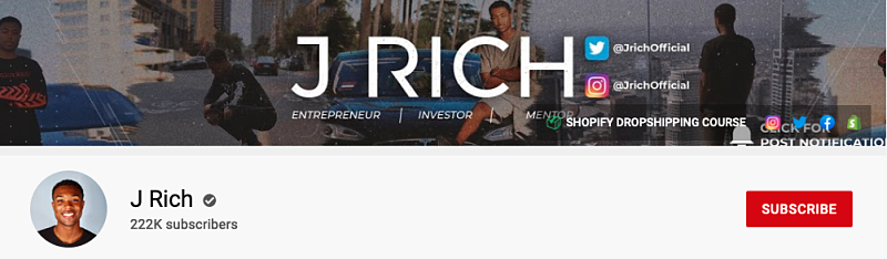 j rich youtube channel header with 222k subscribers